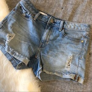 Gap slim cut- offs denim distressed shorts sz. 25